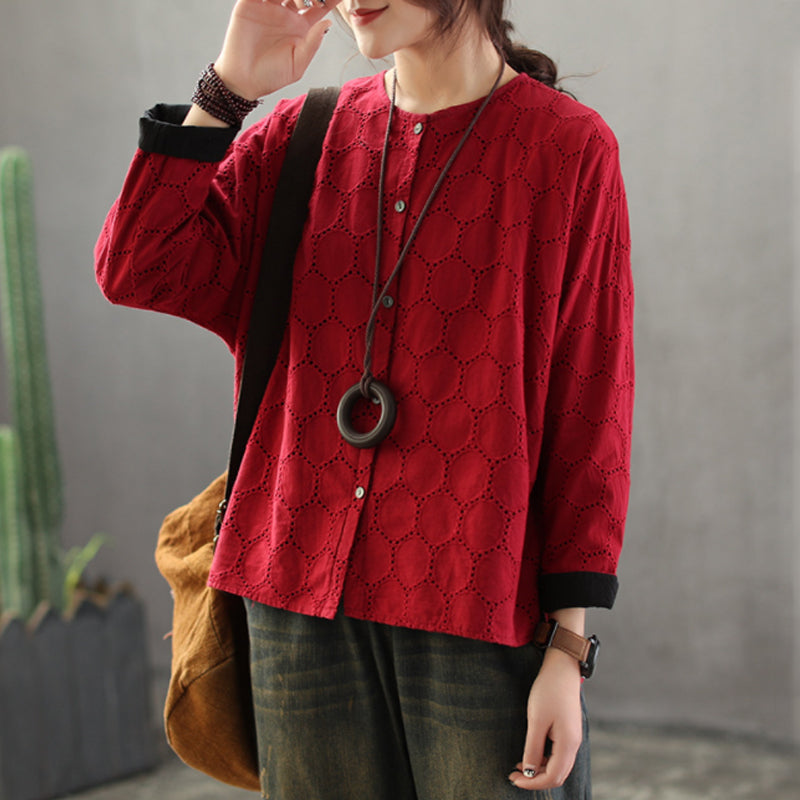 Women Splicing Round Neck Polyester Spring Shirt