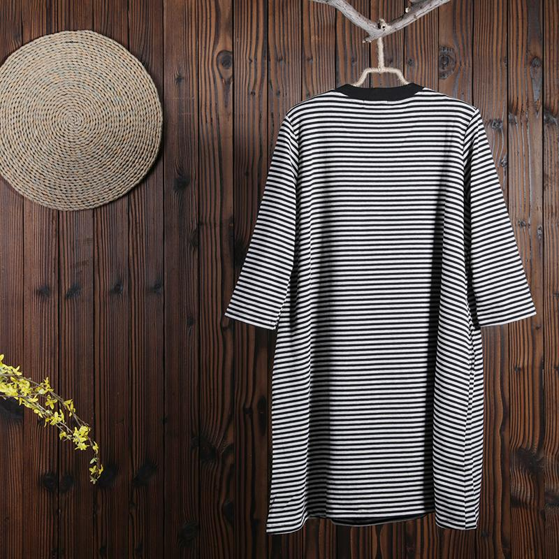 Women Spring Above Knee Cartoon Pullover Loose Long Sleeve Casual Dress