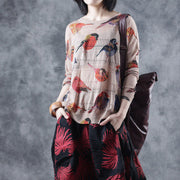 Women Spring Bird Printing Hollow Knitting Shirt