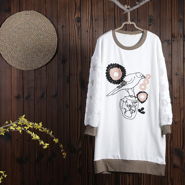 Women Spring Casual Cartoon Pullover Long Sleeve T-Shirt