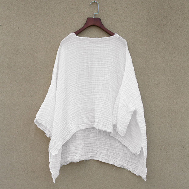 Women Spring Casual Loose White Pullover T-Shirt