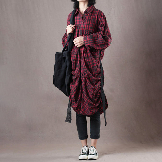 Women Spring Casual Plaid Long Shirt