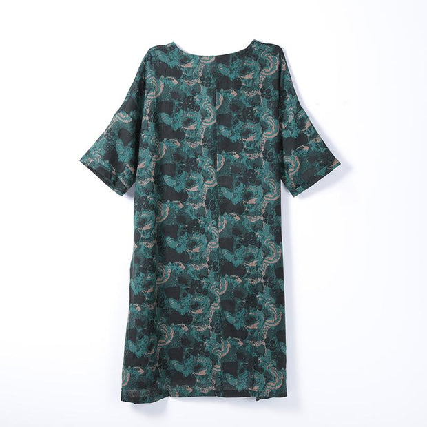 Women Spring Casual Print Half Sleeve Pullover Loose Dress
