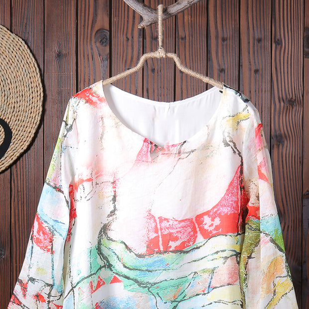 Women Spring Casual Print Long Sleeve Pullover Loose Maxi Dress