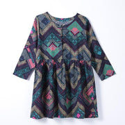 Women Spring Casual Print Pullover Loose Long Sleeve Dress