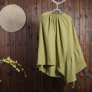 Women Spring Casual Solid Ankle-Length Asymmetrical Skirt