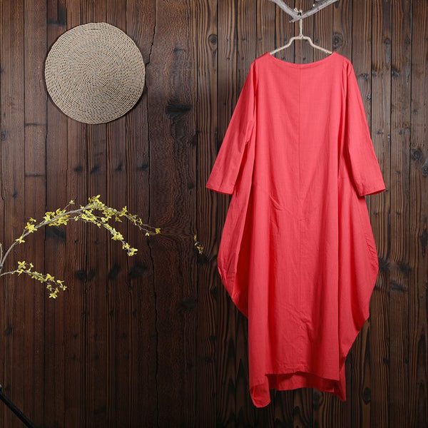 Women Spring Casual Solid Ankle-Length Pullover Bud Long Sleeve Dress
