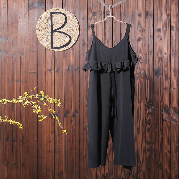 Women Spring Casual Solid Ankle Length Jumpsuit