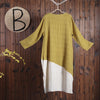 Women Spring Casual Solid Calf Length Pullover Loose Long Sleeve Dress