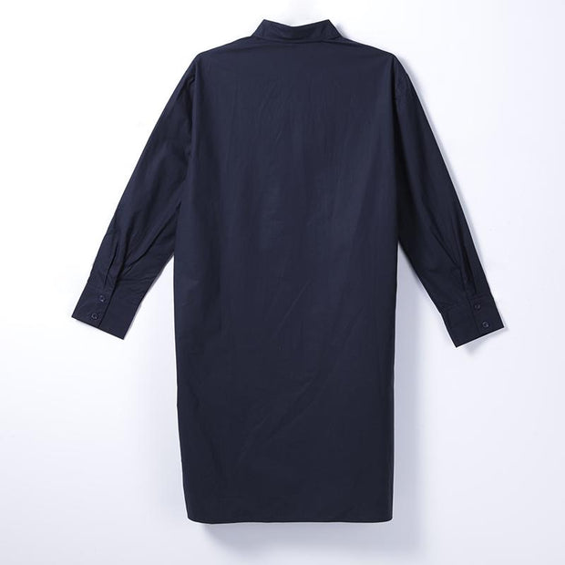 Women Spring Casual Solid Knee-Length Long Sleeve Pullover Loose Dress