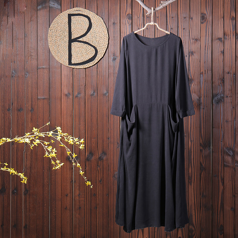 Women Spring Casual Solid Long Sleeve Loose Maxi Dress