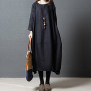 Women Spring Casual Solid Mid-Calf Long Sleeve Loose Dress