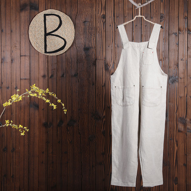Women Spring Casual Solid Overalls Ankle Length Jumpsuit