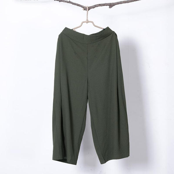 Women Spring Casual Solid Wide Leg Pants Ankle Length Pants