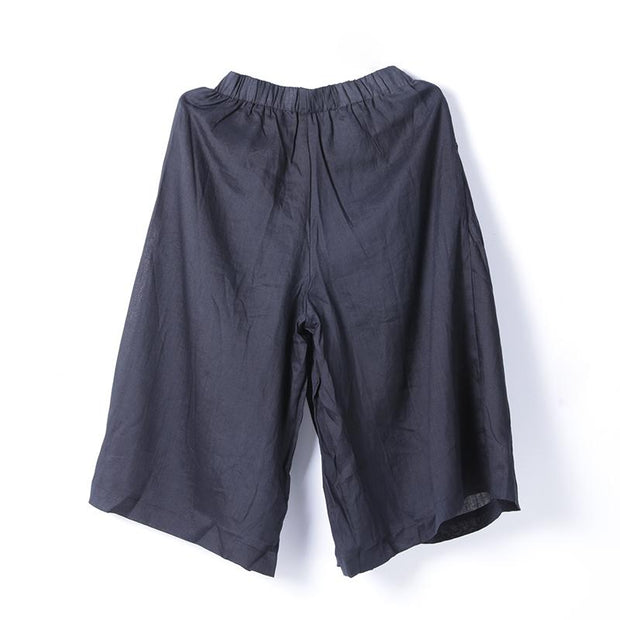 Women Spring Casual Solid Wide Leg Pants Calf Length Pants