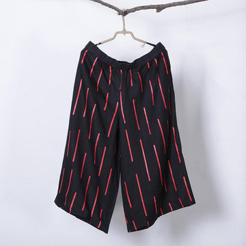 Women Spring Casual Stripe Mid Wide Leg Pants Calf Length Pants