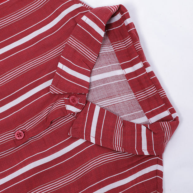 Women Spring Casual Striped Cardigan Long Sleeve Shirt