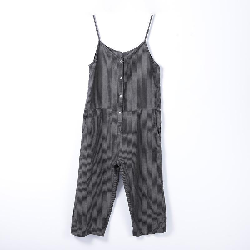 Women Spring Casual Striped Overalls Ankle Length Jumpsuit