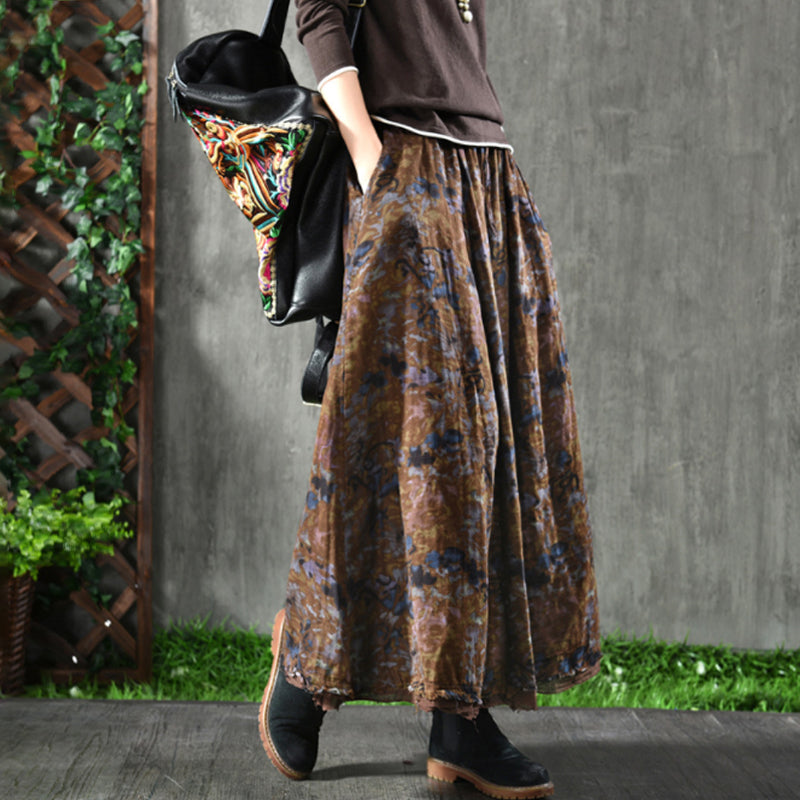 Plus Size - Women Double Layers Floral Prints Skirt