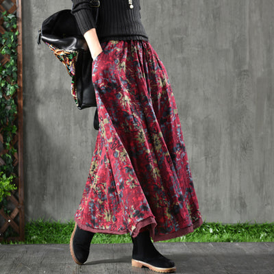 Women Spring Double Layers Floral Printing Skirt