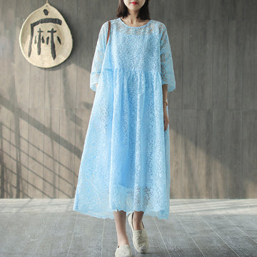 Spring Embroidery Vintage Loose Two Piece Set Dress