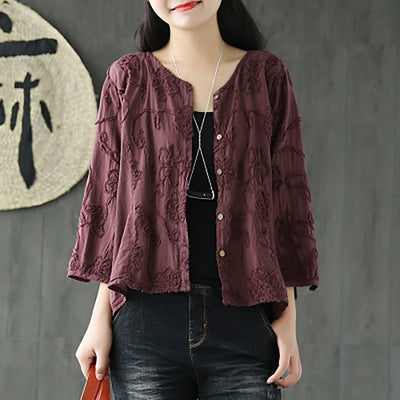 Women Spring Floral Embroidery Vintage Cardigan Short Coat