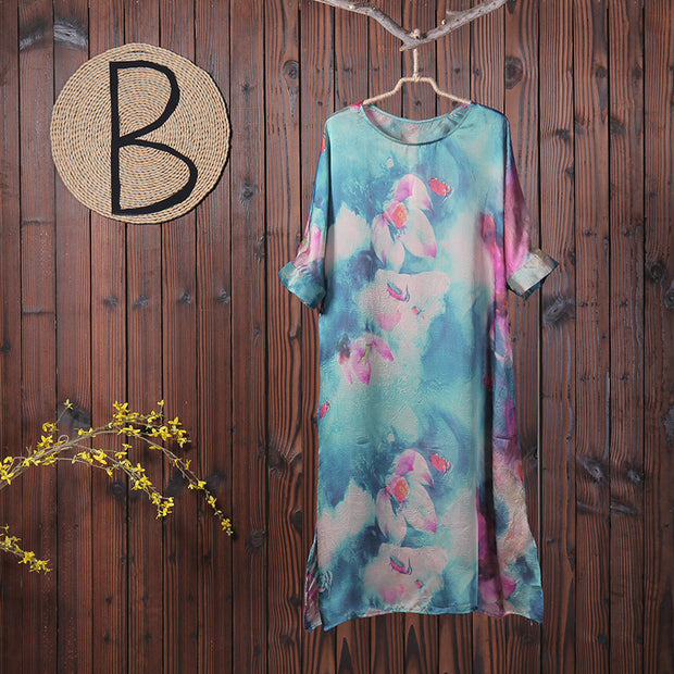 Women Spring Floral Print Chiffon Dress