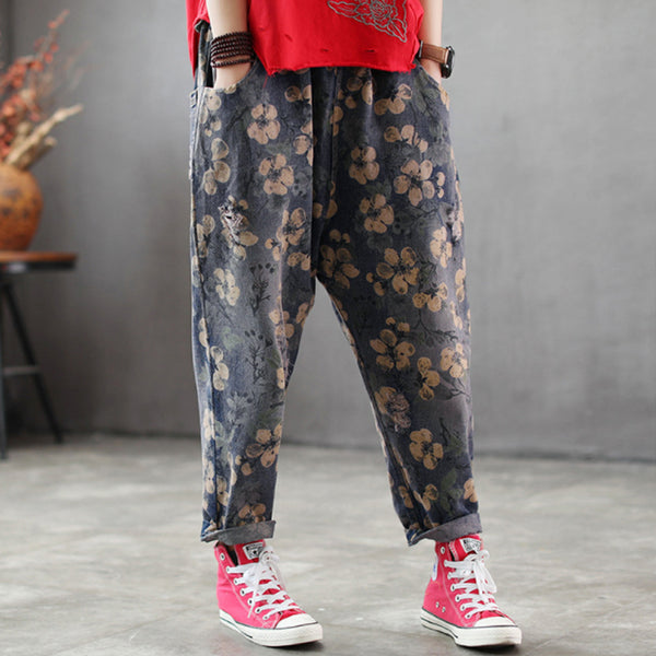 Women Spring Floral Printing Hole Vintage Jeans