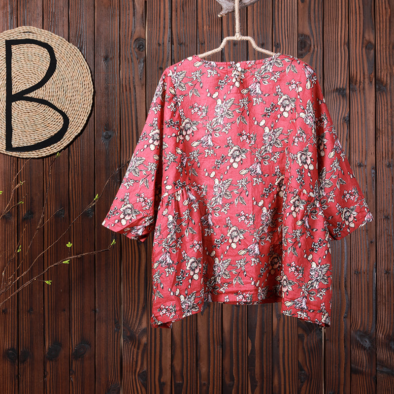 Women Spring Floral Three Quarter Sleeve Casual Loose Shirt