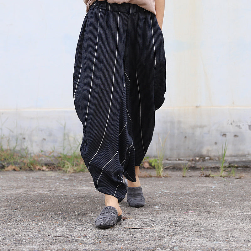 Women Spring Irregular Casual Striped Loose Pants