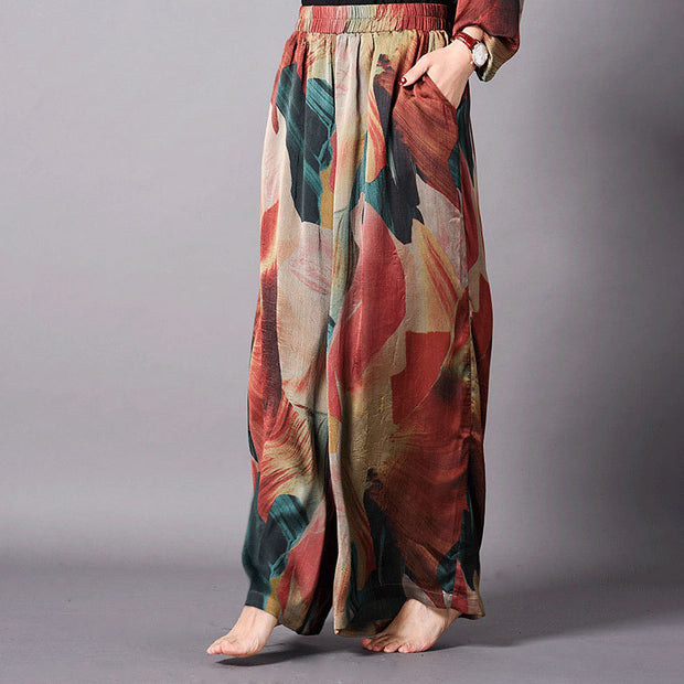 Women Spring Irregular Hem Printing Two Piece Set