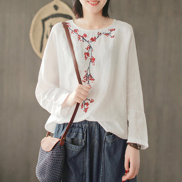 Women Spring Linen Loose Round Neck Embroidery T-Shirt