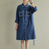 Women Spring Literary Lacing Splicing Shirt Midi Dress