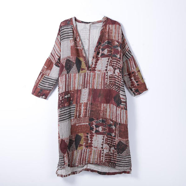 Women Spring Long Sleeve Vintage Print Mid-Calf Pullover Loose Dress
