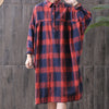 Women Spring Loose Plaid Cotton Linen Shirt Dress