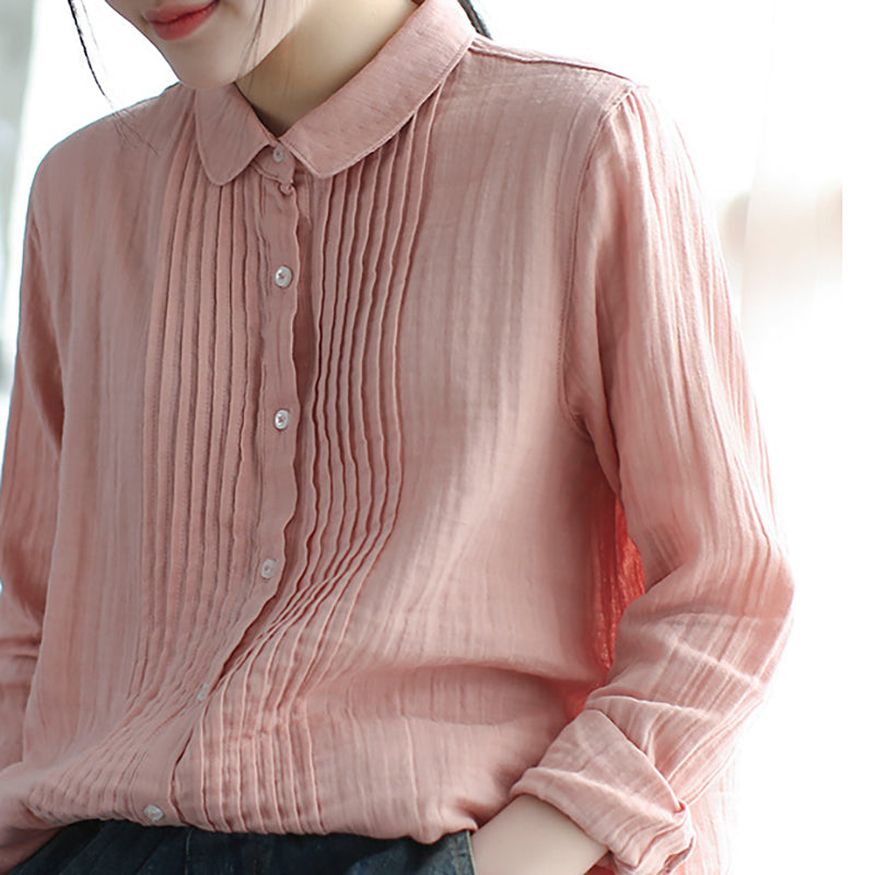Women Spring Pleated Solid Vintage Cotton Yarn Shirt