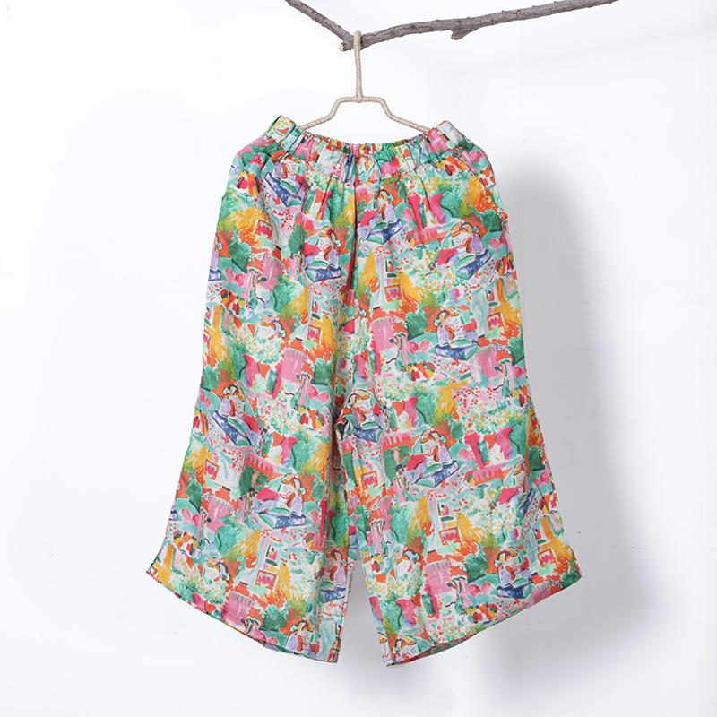 Women Spring Print Casual Wide Leg Pants Calf Length Pants