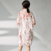 Women Spring Printing Plus Size Cardigan Red Dress
