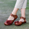 Womens Spring Retro Flower Ankle Strap Leather Sandals