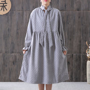 Women Spring Small Dot Petal Sleeve Literary Dress