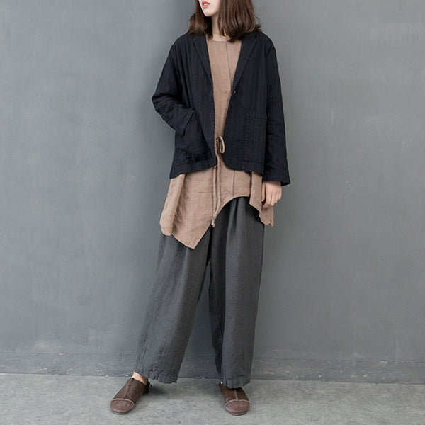 Women Spring Solid Cotton Linen Casual Coat