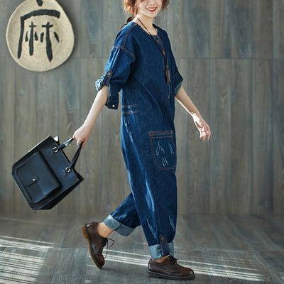 Women Spring Solid Fashion Frayed Jumpsuit