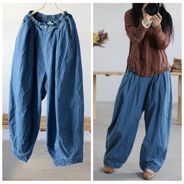 Women Spring Solid Frog Loose Bloomers Jeans