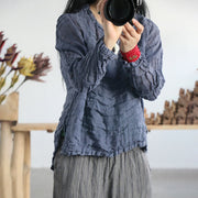 Women Spring Solid Linen Splitting Pleated Pullover Shirt
