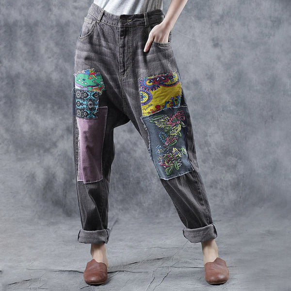 Women Spring Vintage Embroidery Patchwork Gray Jeans