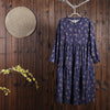 Women Spring Vintage Floral Loose Long Sleeve Dress