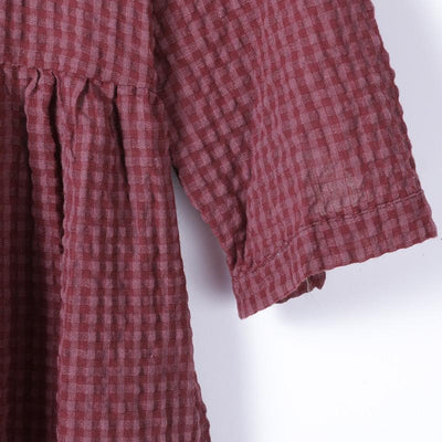Women Spring Vintage Plaid Pullover Loose Long Sleeve Dress