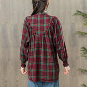 Women Spring Vintage Pleated Plaid Pullover Shirt