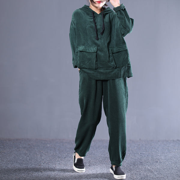 Women Spring Vintage Solid Corduroy Hooded Loose Suit