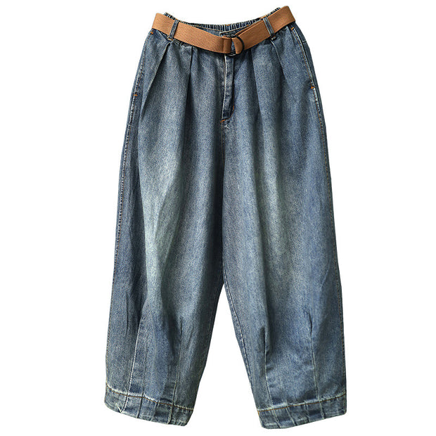 Women Spring Vintage Solid Loose Turnip Pants Jeans
